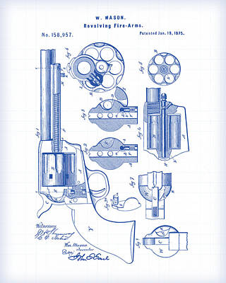 Painting - Revolver Patent Drawing by Gary Grayson