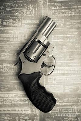 Photograph - Revolver Pistol Gun Over Drawings by Edward Fielding
