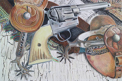 Still Life Drawings - Revolver with Spurs by Scott Kingery
