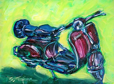 Painting - Revving Red Vespa by Sheila Tajima