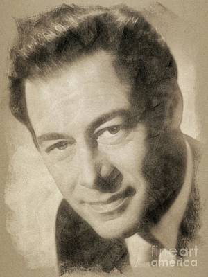 Musicians Drawings Rights Managed Images - Rex Harrison, Vintage Hollywood Legend Royalty-Free Image by John Springfield