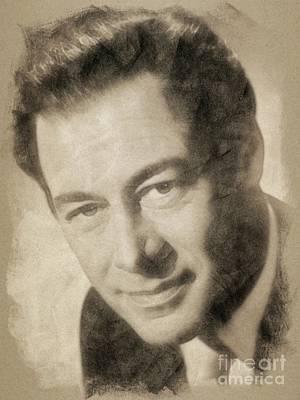 Harrison Drawing - Rex Harrison, Vintage Hollywood Legend by John Springfield