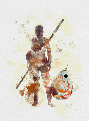 Darth Vader Mixed Media - Rey And Bb8 by Rebecca Jenkins