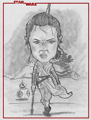 Drawing - Rey The Force Awakens by Chris DelVecchio