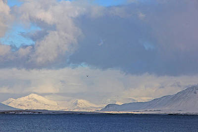 Photograph - Reykjavik Bay, Blue Sea, Clouds , Shadows, Mountains,  Iceland 2 2102018 2262 by David Frederick