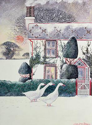 Geese Painting - Rg Janek's First Christmas by Lisa Graa Jensen