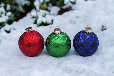 Photograph - Rgb Christmas Balls On Snowy Ground by William Freebilly photography
