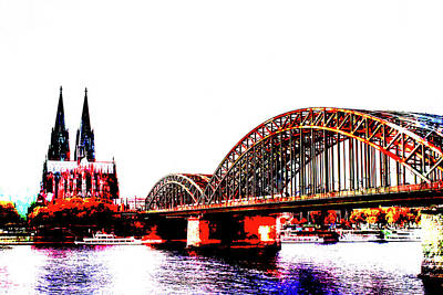Built Structure Mixed Media - Rhine Cologne Abstract 004 by Ralph Klein
