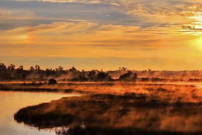 Rhinelander Photograph - Rhinelander Flowage Foggy Sundog by Dale Kauzlaric