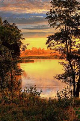 Rhinelander Photograph - Rhinelander Flowage Golden Sunrise  by Dale Kauzlaric
