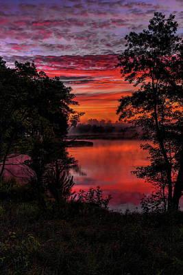 Rhinelander Photograph - Rhinelander Flowage Sunrise Reflection by Dale Kauzlaric