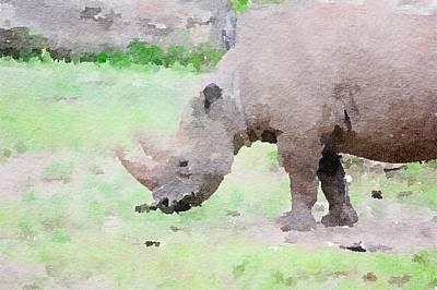 Painting - Rhino Abstract Watercolor by Leah Lambart