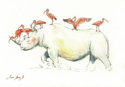 Rhinoceros Painting - Rhino And Ibis by Juan Bosco