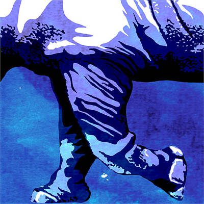 Rhino Painting - Rhino Animal Decorative Blue Poster 7 - By  Diana Van by Diana Van