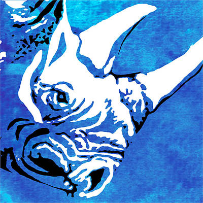 Rhino Animal Decorative Blue Poster 9 - By   Diana Van Art Print
