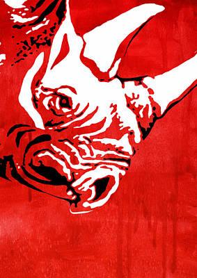Rhino Painting - Rhino Animal Decorative Red Poster 5 -  By Nostalgic Art by Diana Van
