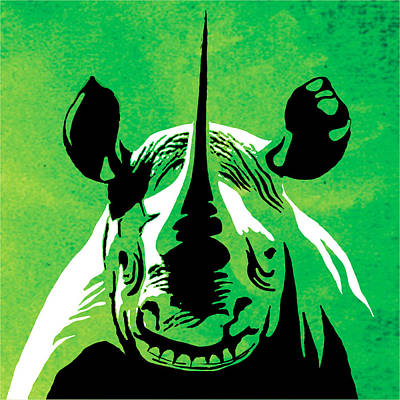 Graphic Painting - Rhino Animal Decorative Green Poster 5 - By Diana Van by Diana Van