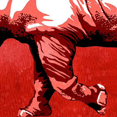 Rhino Animal Decorative Red Poster 7 - By  Diana Van Art Print by Diana Van