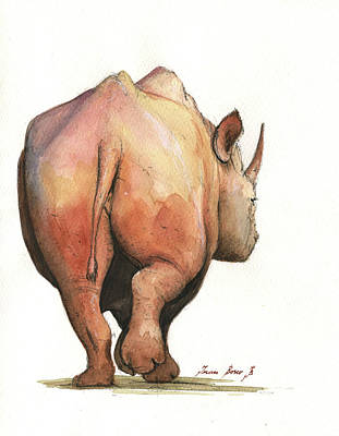 Rhinoceros Painting - Rhino Back by Juan Bosco