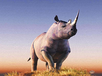 Rhinoceros Digital Art - Rhino by Daniel Eskridge