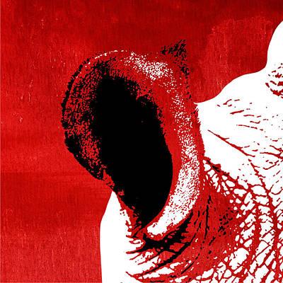 Rhino Animal Decorative Red Poster 3 - By Diana Van Art Print