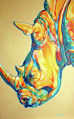 White Rhino Painting - Rhino by Derrick Higgins