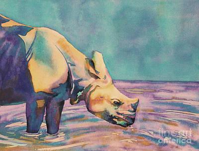Painting - Rhino Drinking by Ryan Fox