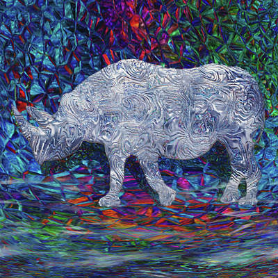 Rhinoceros Mixed Media - Rhino Glass Work by Jack Zulli