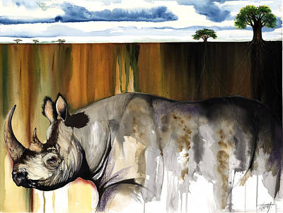 Mixed Media - Rhino I Rooted Ground by Anthony Burks Sr