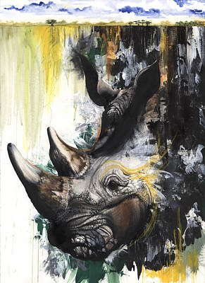 Rhino II Art Print by Anthony Burks Sr