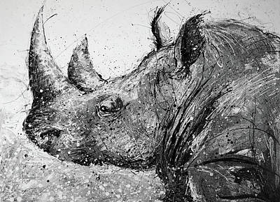Splashy Painting - Rhino In Black And White by Michael Glass