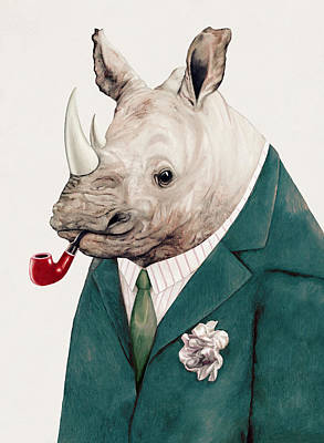 Office Decor Painting - Rhino In Teal by Animal Crew