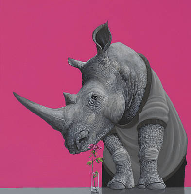 Pink Wall Art - Painting - Rhino by Jasper Oostland