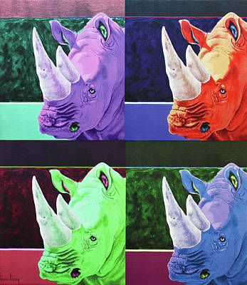 Rhino Quad Print by Keith Alway
