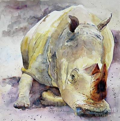 Rhino Reclining Original by Claudia Hafner