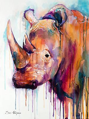 Rhinoceros Painting - Rhino by Slavi Aladjova