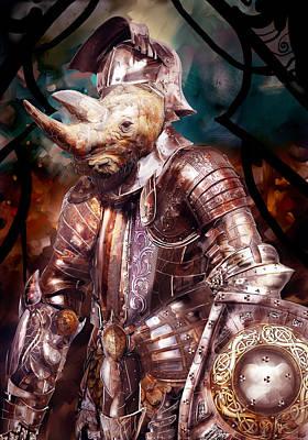 Digital Art - Rhino Warrior by Fabrizio Uffreduzzi