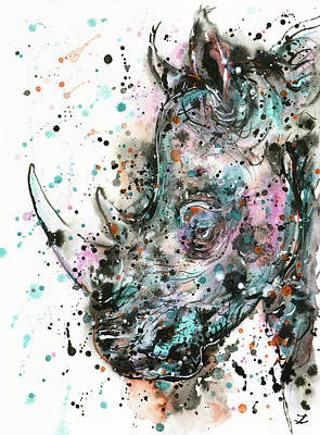 Painting - Rhino by Zaira Dzhaubaeva