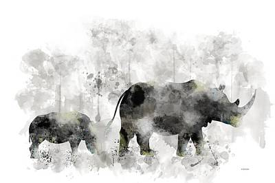 Digital Art - Rhinoceros And Baby by Marlene Watson