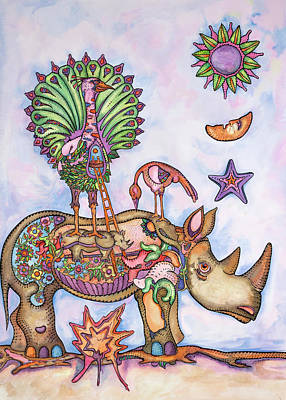 Luis Drawing - Rhinoceros And Peacock by Jose Luis Olivares