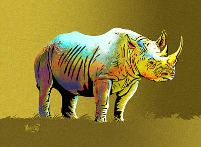 One Horned Rhino Painting - Rhinoceros by Anthony Mwangi