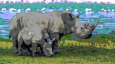 Rhinoceros Mixed Media - Rhinoceros by Charles Shoup