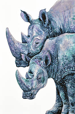 Painting - Rhinoceros Couple by Zaira Dzhaubaeva