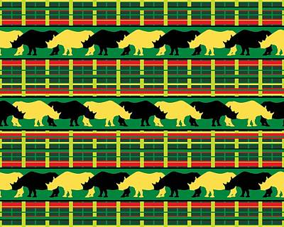 Digital Art - Rhinoceros Safari Weave by MM Anderson