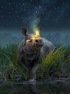 Reflection Digital Art - Rhinoceros Unicornis by Jerry LoFaro