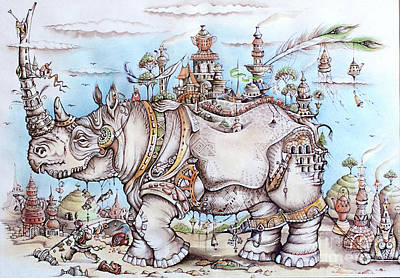 Rhinoceros Mixed Media - Rhinoceros_home by Anna Armat