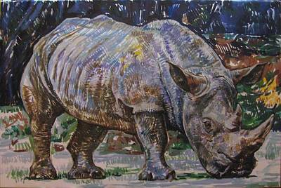 Rhinocerus Painting - Rhinocerus by Misa Dudic