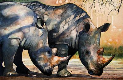 Rhino Wall Art - Painting - Rhinos In Dappled Shade. by Paul Dene Marlor