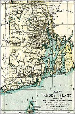 Photograph - Rhode Island Antique Map 1891 by Phil Cardamone