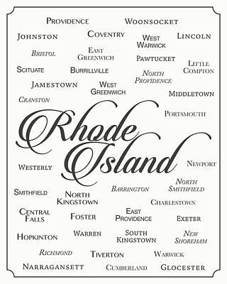 State Of Rhode Island Digital Art - Rhode Island by Finlay McNevin